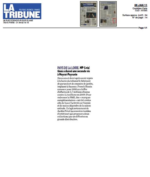 NP Créations ... dans La Tribune