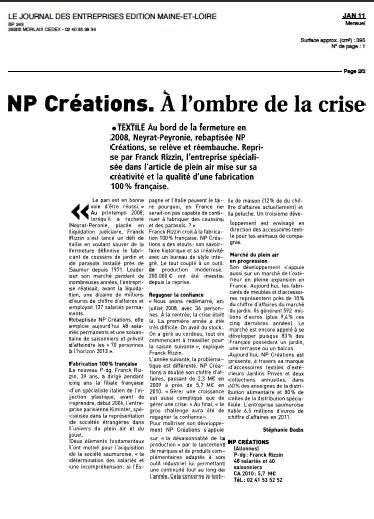 NP Créations ... dans Le Journal des entreprises