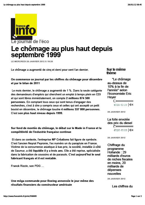 NP Créations ... sur France Info / Journal de l'Eco (25 janvier 2012)