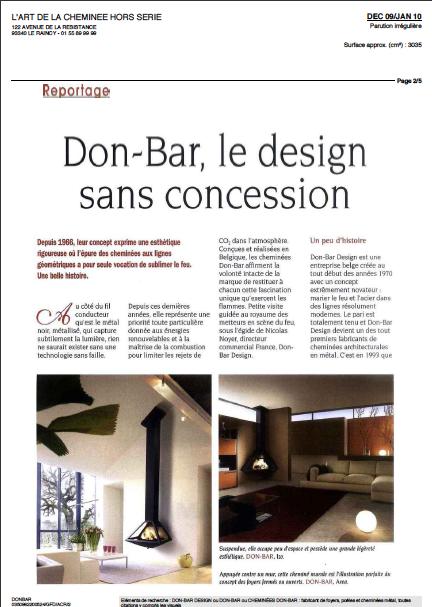 DonBar Design ... reportage vu dans L'Art de la Cheminée