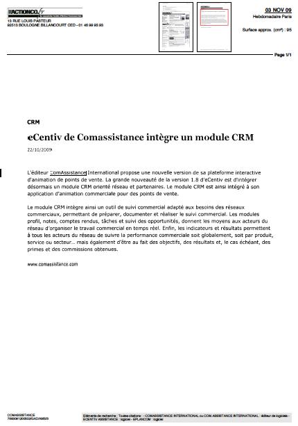 ComAssistance International ... vu dans Action Co.fr