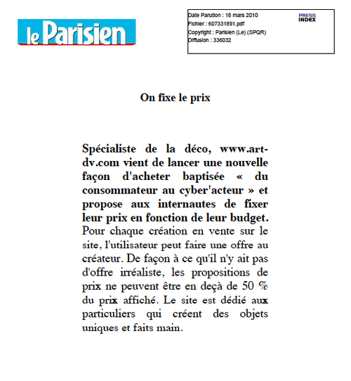 Art DV.com ... vu dans Le Parisien