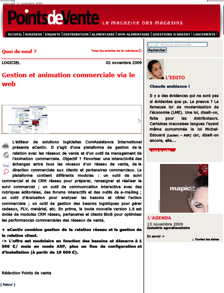 ComAssistance International ... vu dans Points de Vente